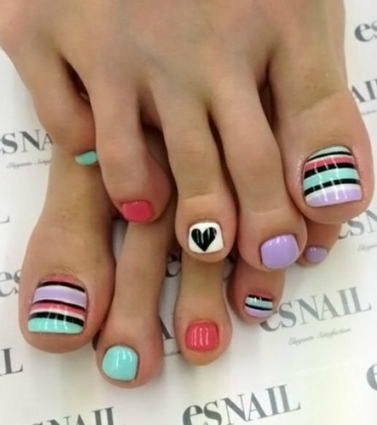 neon geometric toe nail art design