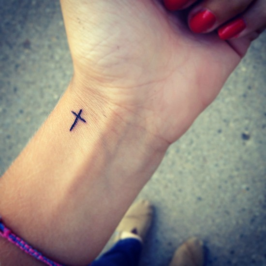 Small Cross Tattoo On Wrist
