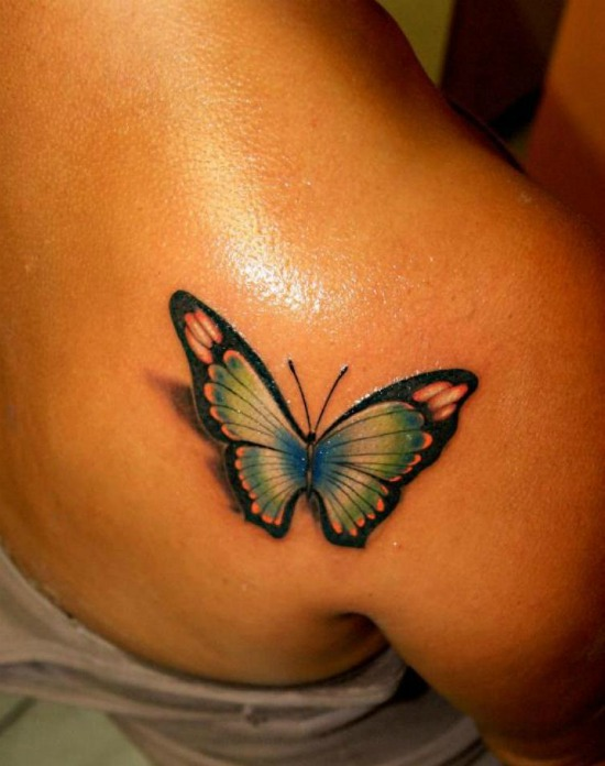 3D butterfly tattoos on back