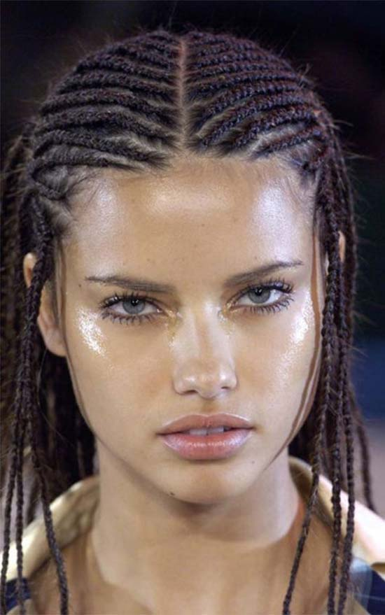 Adriana Lima Cornrow hairstyle