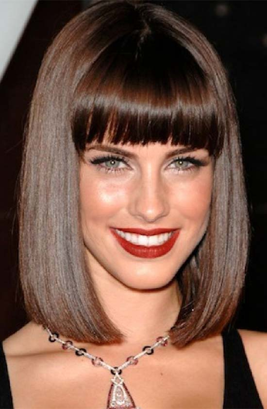 Adriana Lima Long Bob Haircut With Bangs