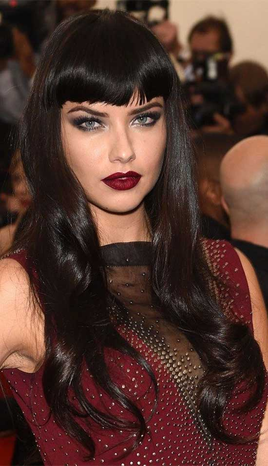 Adriana Lima Long Hairstyles with Bangs