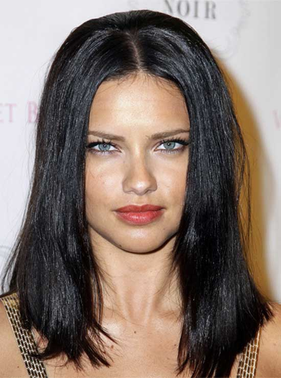 Adriana Lima Long Straight Hairstyle Black