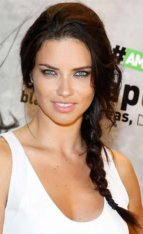 Adriana Lima Side braid with bangs