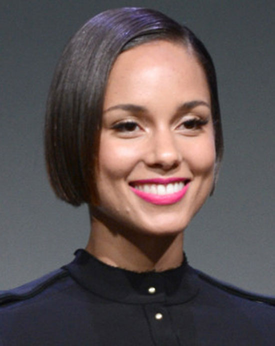 Alicia-Keys Short Straight Hairstyles