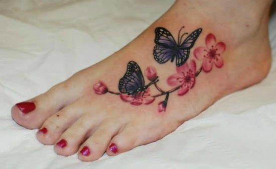 Butterfly and cherry blossoms Tattoo on Foot