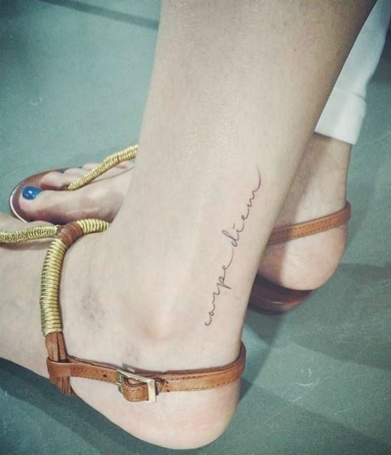 Carpe diem ankle tattoo