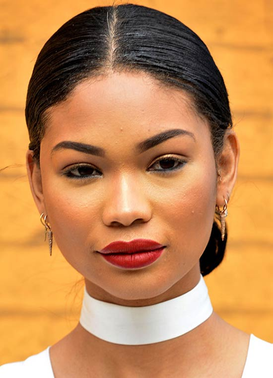 Chanel-Iman-middle-parted-bun haircut