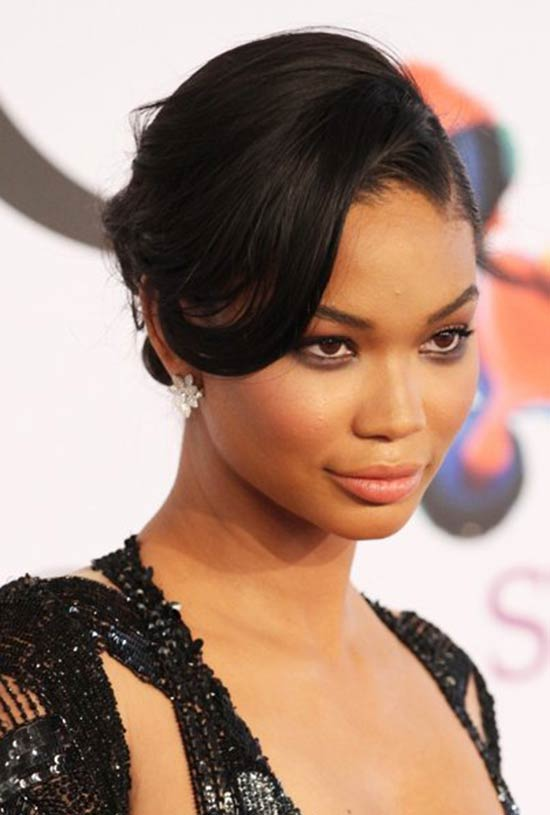 Chanel Iman's Side Parted Chignon