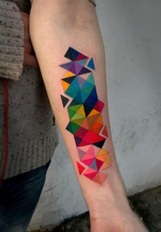 Colorful Geometric Arm Tattoo