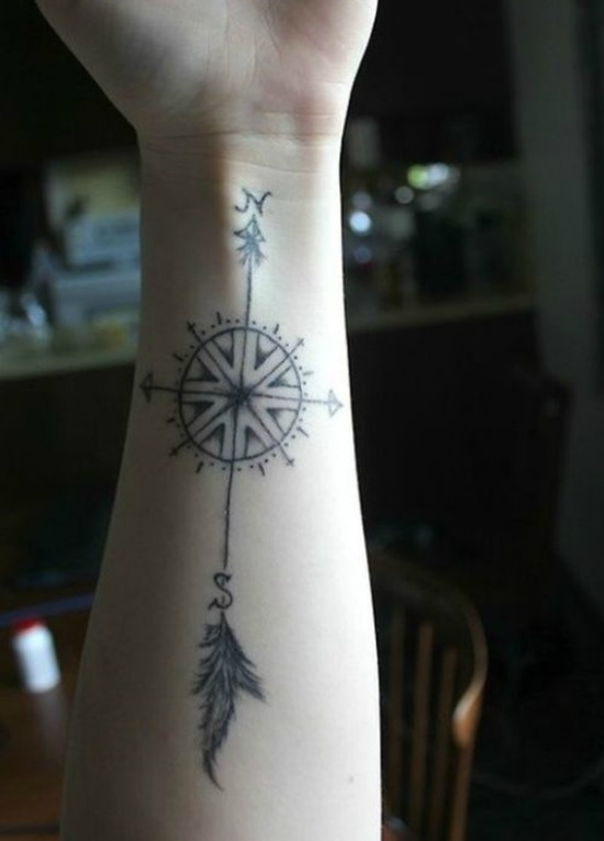Compass with a Feathered Arrow Arm Tattoo