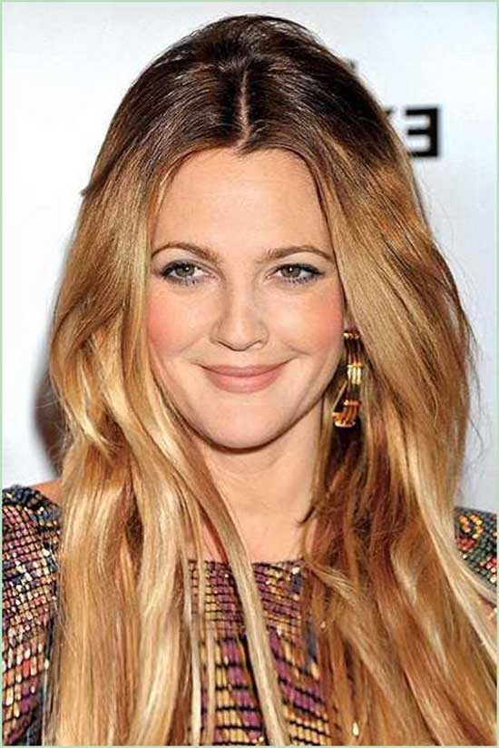 Drew Barrymore Dark brown to Ash Blonde Ombre