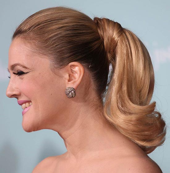 Drew Barrymore Hair Trend Ponytail
