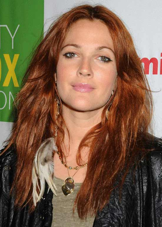 Drew Barrymore Long, Chic Red Hairstyle