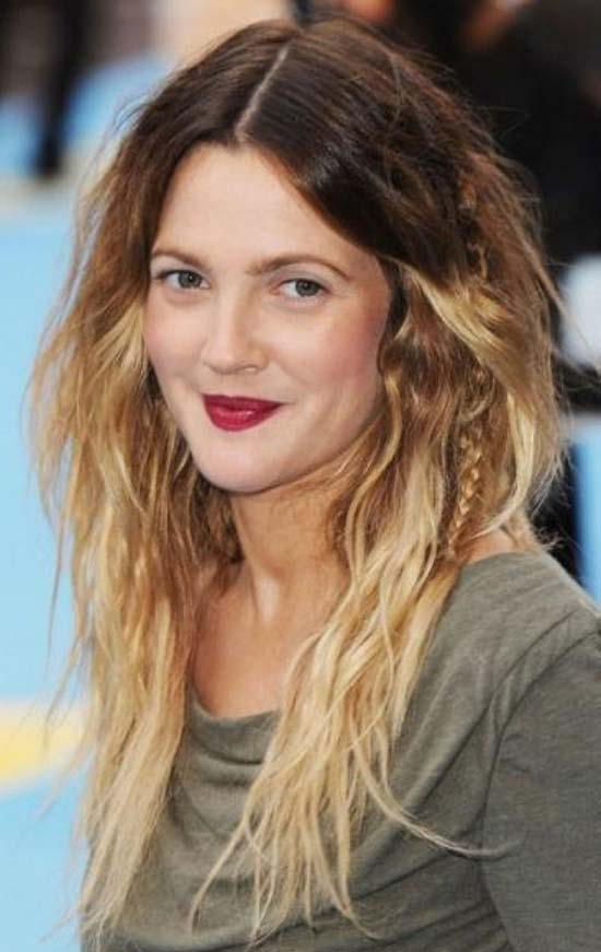 Drew-Barrymore Ombre-Hair-With-Bangs