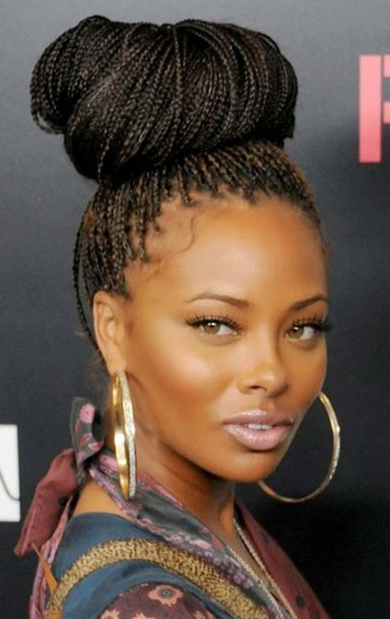 Eva Marcille stylish pins Micro braids updo