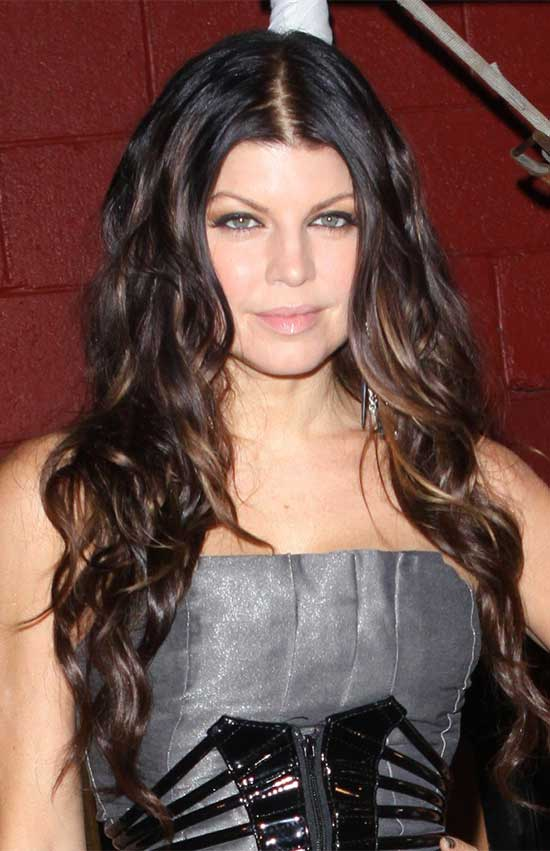 Fergie Brunette Long Hairstyles