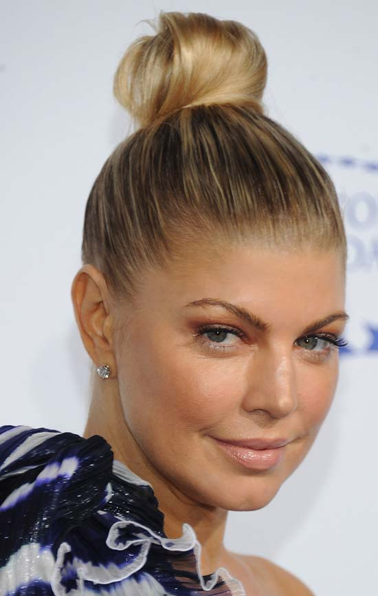 Fergie Easy Bun Hairstyles for Medium Length Hair