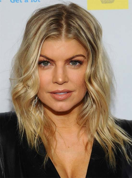 Fergie Medium Layered Hairstyle for Waves Hair