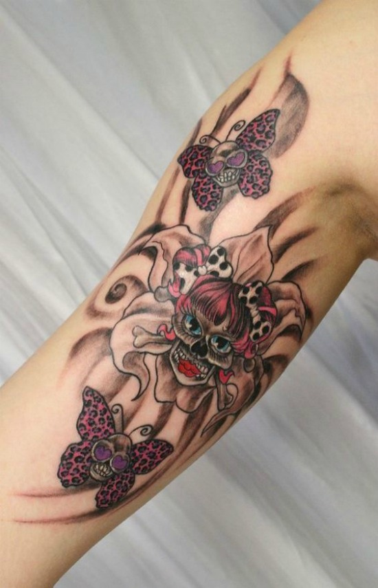 Flower Skulls Butterfly Tattoo
