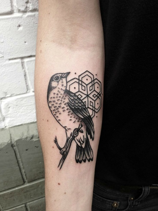 Geometric + bird tattoo on Arm