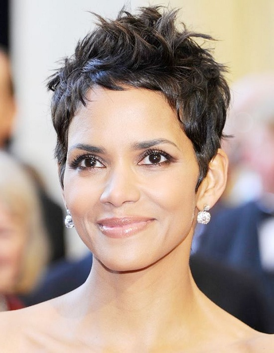 Halle Berry Pixie Haircut for Thick Hair