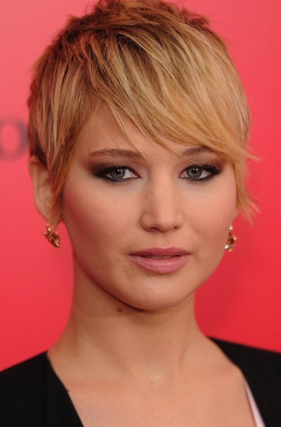 Jennifer-Lawrence Asymmetrical pixie cuts
