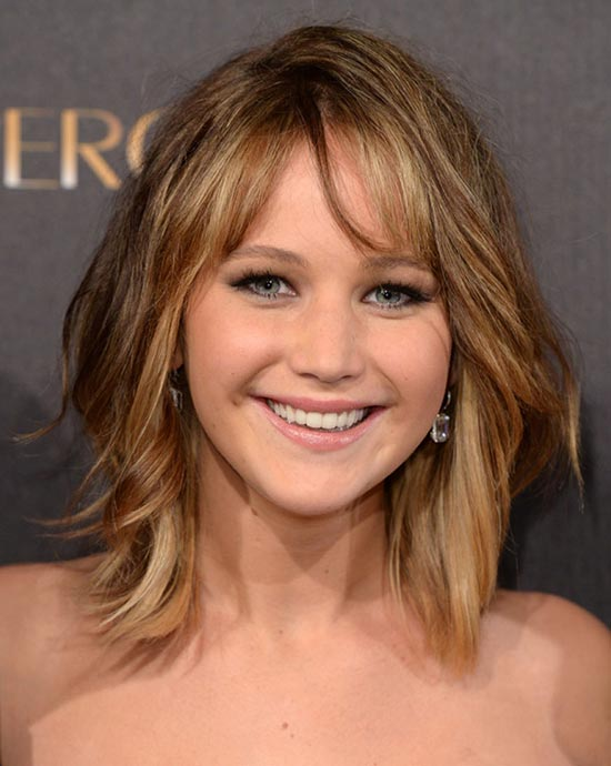Jennifer Lawrence Bob Cut Hairstyles for Oval face