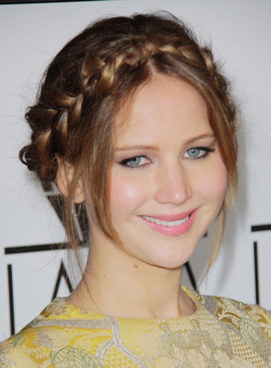 Jennifer-Lawrence Bob with braided bangs