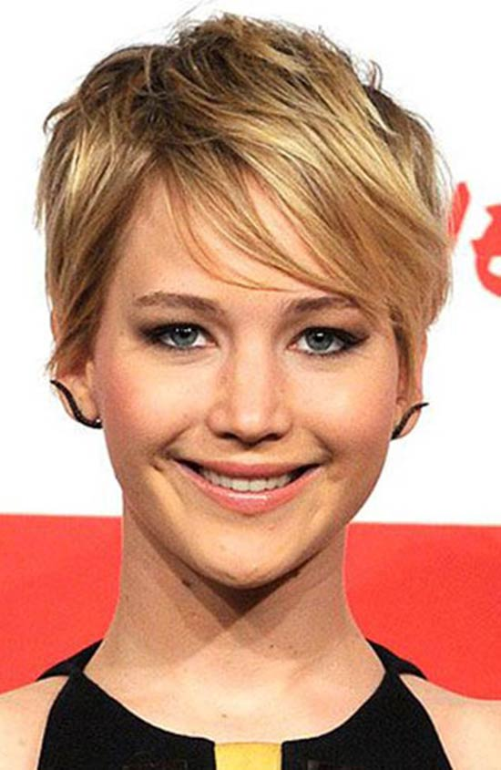 Jennifer-Lawrence Short Blonde Pixie Hairstyles