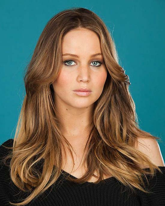 Jennifer-Lawrence-center parted long hair