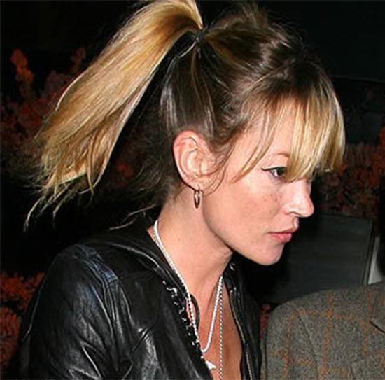 Kate Moss fringe with ponytail