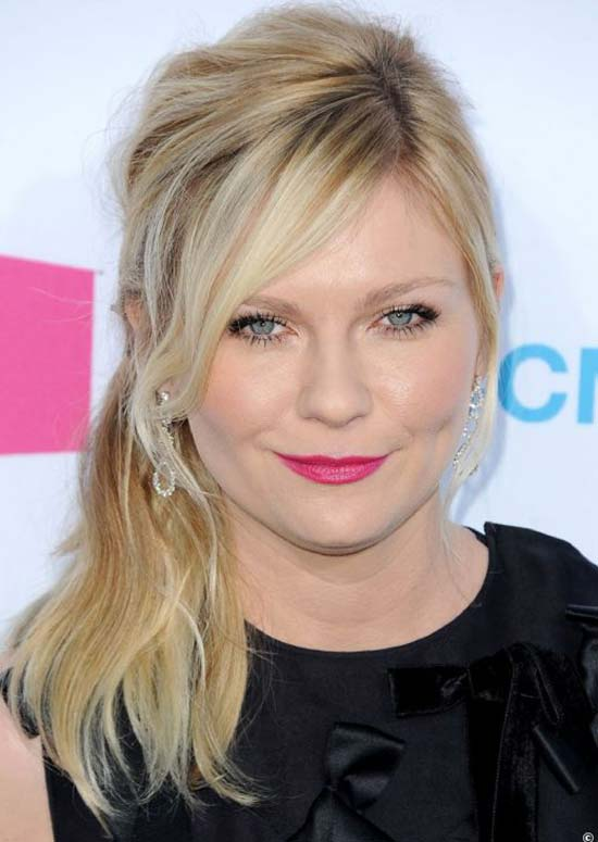 Kirsten Dunst Messy Medium Blonde Hairstyles with Bangs