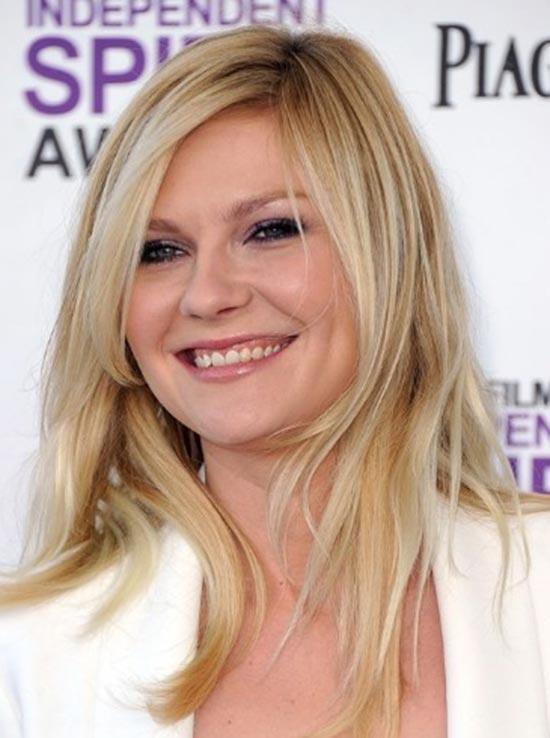Kirsten-Dunst Round Face Hairstyles for Long Hair