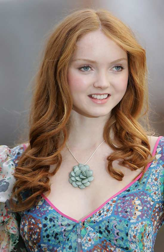Lily Cole long Curly hair with bangs