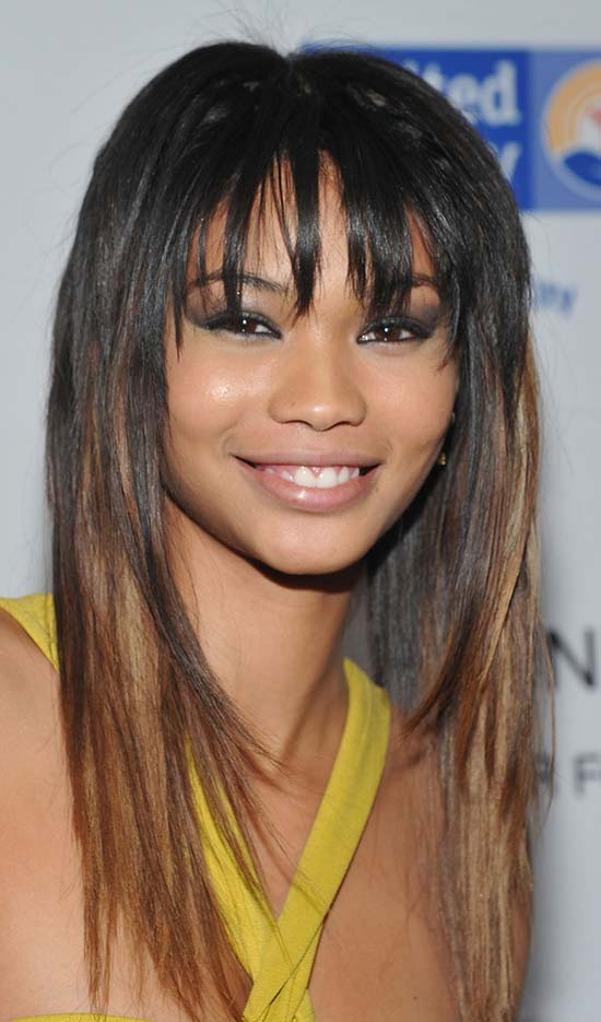 Chanel Iman Long-Hairstyles-with-Blunt-Bangs