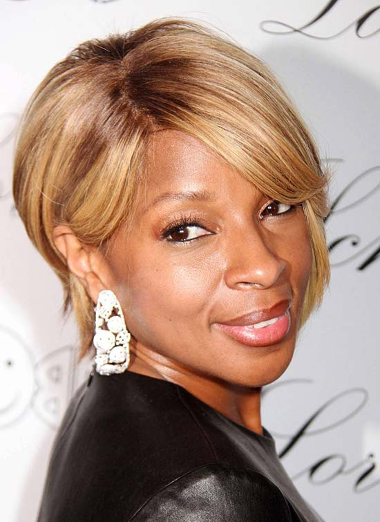 Mary J. Blige Short Straight Hairstyles
