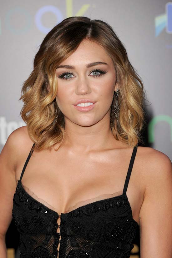 Miley Cyrus Shoulder Length Curly Hairstyle
