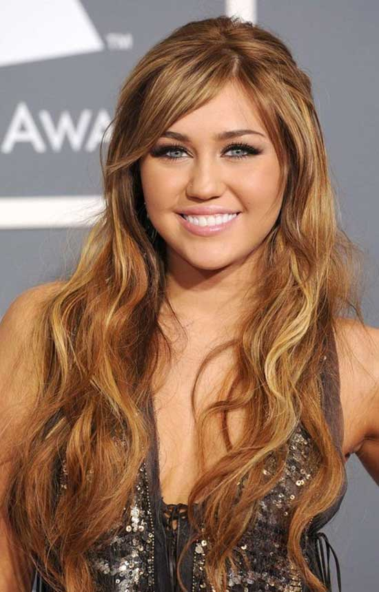 Miley Cyrus long hair with curls