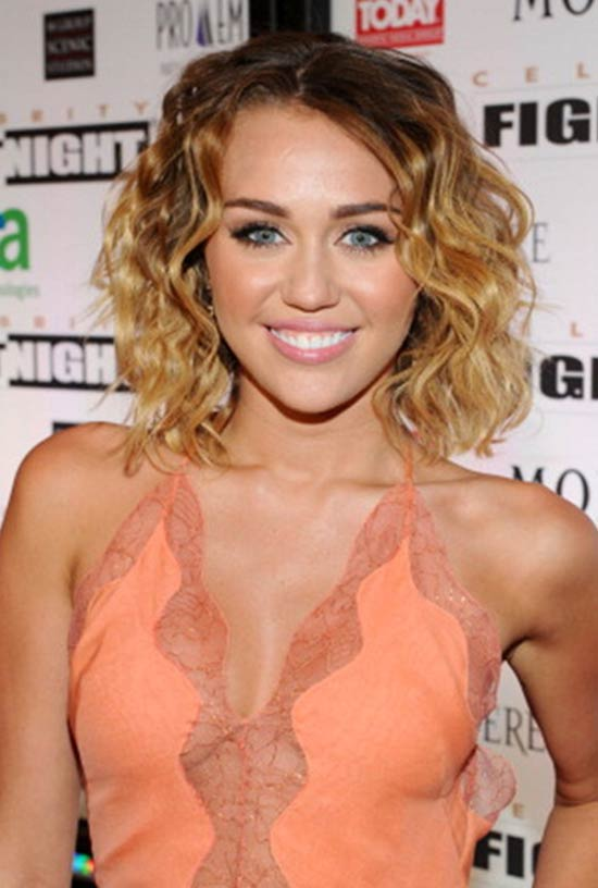 Miley Cyrus short curly hairstyle