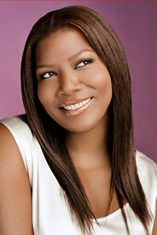 Queen Latifah long straight hairstyle