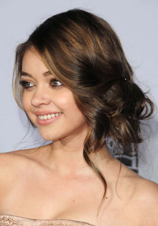 Sarah-Hyland Sassy Loose Bun with Highlights