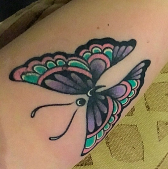 Semi colon butterfly tattoo