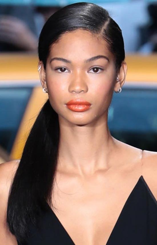 Cahnel Iman Sleek-Low-Pony-With-a-Side-Part