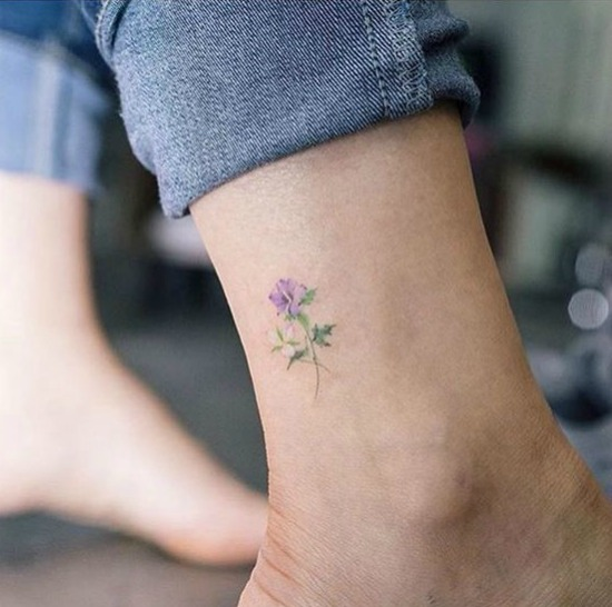 Small Flower Ankle Tattoo