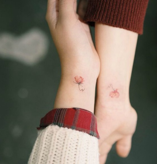 Small Matching Flower Tattoo