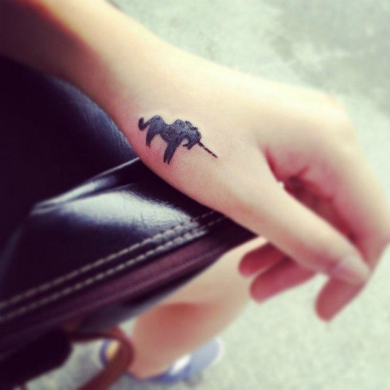black unicorn Tiny Tattoo