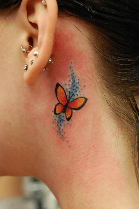 butterfly Tattoo on the neck