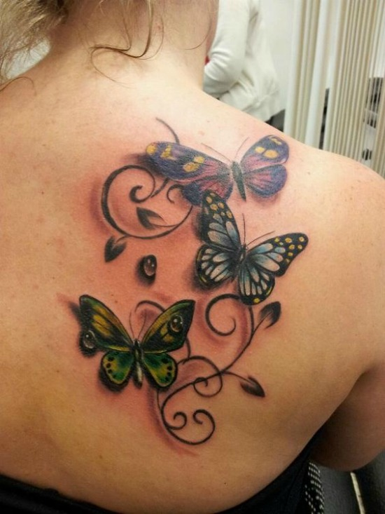 butterfly tattoos for women on Back Shoulder