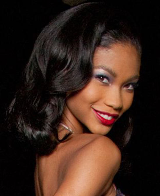 chanel iman curled hairstyle